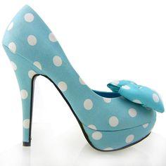Amazon.com: Show Story Two Tone Spot Polka Dots Bow Stiletto Platform High Heel Pump,LF30406: Shoes