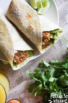 Easy Chickpeasy Breakfast Burritos! #vegan They whip up fast + do well in the freezer, so you can make some ahead of time and grab 'em on-the-go. #vegan