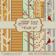 "The CoffeeShop Blog: CoffeeShop ""Fall 5"" Digital Paper Pack!!! free :)"