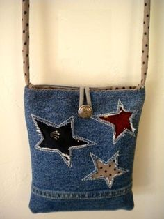 Super adorable up-cycle Denim Bag!.. No pattern.. No instructions.. Posting for inspiration..