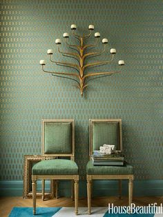 Green wallpaper and chairs. Design: Benjamin Dhong. housebeautiful.com. #green #wallpaper #candelabra #chairs