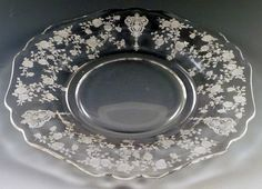 3 Tips to Avoid Wear When You Buy Vintage Glass - Cambridge Rose Point Etched Crystal 3400 Plate Fostoria Glassware, Etched Glassware, History Of Glass, Antique Glass, Milk Glass, Decorative Plates, Cambridge, Crystals, Antiques