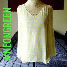 |SALE| Neon Green Open-Arm Top Beautiful for spring & summer! - light sheer fabric - neon green spots - hilighter green! - open arm detail - hi-low hem front & back - 100% polyester Love Riche Tops Blouses