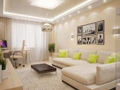 Гостиная в цветах: Бежевый, Белый, Желтый, Светло-серый. Гостиная в стиле: минимализм.