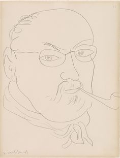 """Henri Matisse, """"Self-Portrait"""" Graphite on paper. Thaw Collection, The Morgan Library & Museum. © 2015 Succession H. Matisse / Artists Rights Society (ARS), New York. Henri Matisse, Picasso Self Portrait, Matisse Drawing, Morgan Library, Portraits, Pablo Picasso, Printmaking, Museum, Graphite"""