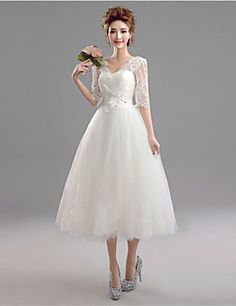 A-line Wedding Dress Tea-length V-neck Lace / Tulle with – GBP £ 55.99