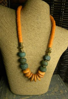 African Necklace Green Hebron Orange Oxbone Tribal by ChrysalisToo