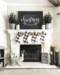 Here are the Christmas Fireplace Decor Ideas. This post about Christmas Fireplace Decor Ideas was. Decoration Christmas, Farmhouse Christmas Decor, Rustic Christmas, Christmas Home, Green Christmas, Xmas Decorations, Christmas Villages, Christmas Fireplace Decorations, Decorating For Christmas