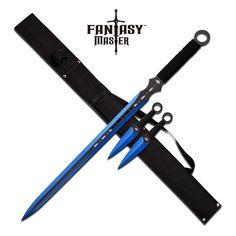FANTASY MASTER FM-644BL BLUE NINJA SWORD KUNAI COMBO - Swords of Might