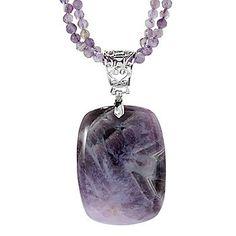 "Gem Insider® Sterling Silver 46 x 34mm Gemstone Pendant w/ 18"" Beaded Necklace"