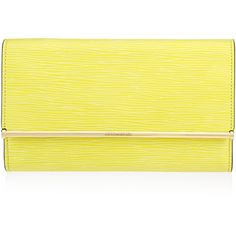 Henri Bendel A-List Embossed Clutch (€175) ❤ liked on Polyvore featuring bags, handbags, clutches, purses, lt green, green purse, leather clutches, leather change purse, man bag and leather man bag