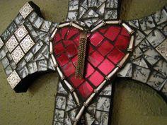 Red Mosaic Sacred Heart Silver and Black by StarStruckMosaics, $135.00