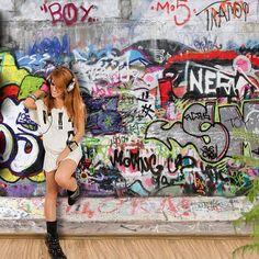 Rasch Kids Club Wallpaper 237801 Loft Painted Brick Wall Graffiti Black