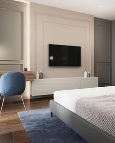 Blue Apartment on Behance Master Bedroom Interior, Home Decor Bedroom, Home Living Room, Modern Bedroom, Living Room Decor, Home Room Design, Home Interior Design, Modern Classic Interior, Living Room Tv Unit Designs