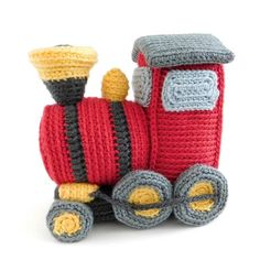 All aboard the Toy Box Express! This little locomotive, with its car ready to be filled with cargo and passengers, is waiting to leave the station and set off on all sorts of adventures! Basic Crochet Stitches, Crochet Basics, Crochet Patterns, Crochet Toys, Crochet Baby, Monster Toys, Universal Yarn, Christmas Knitting Patterns, Cars