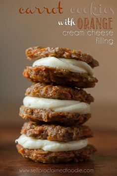 Carrot Sandwich Cookies with Orange Cream Cheese Filling | Self Proclaimed Foodie