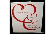 """Einladungskarte Hochzeit&Taufe """"Modernes Herz"""" rot Company Logo, Invites Wedding, Heart, Red"""
