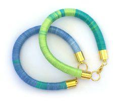 Rope Bangle, Handmade Statement Bracelet, Ombre Bracelet, Colorful Handmade Bracelet, Turquoise-Green Bracelet