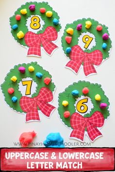 Christmas wreath counting activity - Education and lifestyle Preschool Christmas Activities, Kids Learning Activities, Preschool Crafts, Math Crafts, Christmas Math, Christmas Themes, Kindergarten Christmas, Preschool Kindergarten, Advent