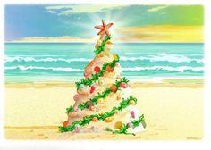 18-Boxed-Christmas-Cards-Beach-Tree-Sand-Sea-Shells-Tropical