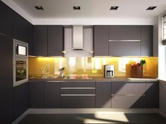 Browse images of minimalistic Kitchen designs by Polovets & Tymoshenko design studio. Find the best photos for ideas & inspiration to create your perfect home. Modern Kitchen Cabinets, Modern Kitchen Design, Kitchen Countertops, Kitchen Furniture, New Kitchen, Kitchen Dining, Kitchen Decor, Modern Kitchen Interiors, Studio Kitchen
