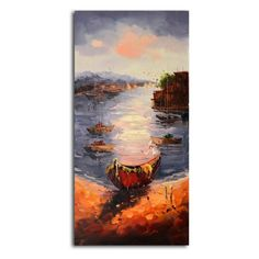 Omax A View from the Shore Oil Painting on Canvas - 20W x 40H in. - M 3109