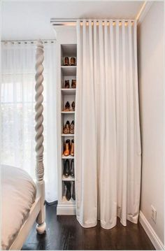 small space storage ideas built in shelves (bedroom clothes?) : small space storage ideas built in shelves (bedroom clothes? Closet Curtains, Closet Bedroom, Bedroom Decor, Shoe Closet, Funky Bedroom, Bedroom Small, Bedroom Ideas, Small Rooms, Warm Bedroom