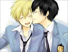 Kyoya and Tamaki ouran high school host club, this ship... idk man, it's really cute, but I just tamakixharuhi even more :P