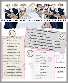 Most Common with Bride Wedding Shower Game!
