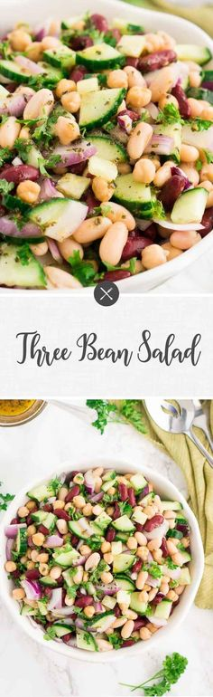 This delicious three bean salad is a quick and easy potluck salad or a side dish that takes 10 minutes to make. Tossed in a sweet and tangy dressing, it's the perfect accompaniment to so many mains.
