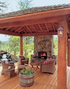 User-Friendly Cabin - Cabin Life Magazine - Traditional - Porch - other metro My Favorite! Cabin Life, Outdoor Living Space, Outdoor Rooms, Outdoor Space, Hot Tub Gazebo, Outdoor Fireplace, Outdoor Kitchen, Outdoor Spaces, Traditional Porch