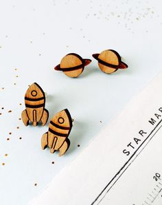 Journey To The Stars Wooden Space Earrings — Eclectic Eccentricity Vintage Jewellery