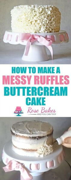 Learn how to make this EASY Messy Ruffles Buttercream Cake - watch the video tutorial! ~ Rose Bakes