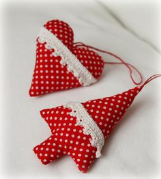 Lovely Fabric & Crocheted lace Christmas Tree Ornaments Decorations by bautsino, $8.90