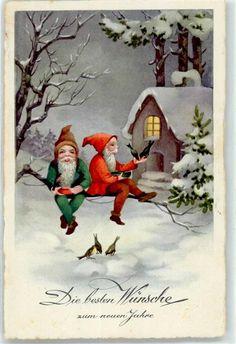 Künstlerkarte Zwerg Neujahr