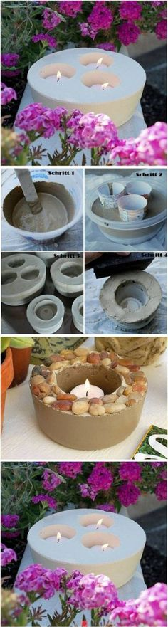 Kreative Deko selber machen - Kerzenhalter - DIY / how to make beautiful candle holders with concrete ♥ Best Picture For diy manualidades Fo - Concrete Crafts, Concrete Art, Concrete Planters, Concrete Backyard, Garden Planters, Backyard Patio, Concrete Candle Holders, Outdoor Candle Holders, Creation Deco