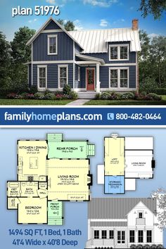 Quaint modernized contry home plan, with a small footprint, lends to an efficient use of space. The living room has a large feel with 19' ceilings that open up to a large upstairs loft, accessible by ladder. First floor bedroom features a walk-in closet and bathroom with spacious wet room. Second floor offers a large open loft and a mechanical/storage space. #countryhouseplan #smallhouseplan #countryliving #houseplans #homeplans #familyhomeplans @familyhomeplans Southern House Plans, Family House Plans, Country House Plans, New House Plans, Dream House Plans, Small House Plans, Country Farmhouse, Cottage House Designs, Cottage House Plans