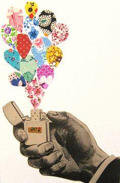 collage -- lighter brightening up the world