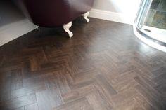 Gorgeous amtico bathroom floor laid in herringbone pattern Amtico Flooring, Wooden Flooring, Hardwood Floors, Amtico Signature, Bathroom Cupboards, Flat Interior, Victorian Cottage, Luxury Vinyl Flooring, Commercial Flooring
