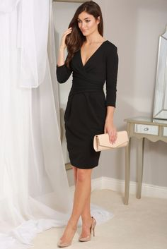 Maggie Black Fitted Pleated Midi Dress