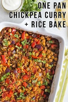 One pan chickpea curry and rice bake - a tasty veg. One pan chickpea curry and rice bake - a tasty vegan curry and rice, with no pre-cooking required! Just throw all the raw ingredients (including uncoo. Chickpea Recipes, Vegan Dinner Recipes, Veg Recipes, Curry Recipes, Vegan Dinners, Indian Food Recipes, Whole Food Recipes, Vegetarian Recipes, Cooking Recipes