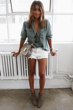 julie sarinana shirt + white shorts + boots isabel marant