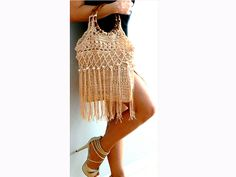 Amanda fringe crochet purse Handmade beige purse-Vintage inspired pearls bag-Chic,hippie crochet purse-Boho purse-Retro wood handles handbag