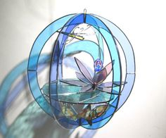 TranZenDance - 3D Stained Glass Sphere #stainedglass #waterlily #koi #pond