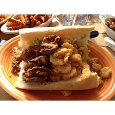 Shrimp & Oyster Poboy just absolutely wonderful!  Harbor View Cafe Long Beach, Mississippi