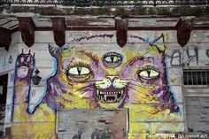 Malegria, Ene Ene, Pin8 and Asteri have just finished a great new collaboration on two sides of an abandoned building in San Telmo.