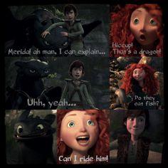 Merida: I love that dragon. Hiccup: Ya me too. Rapunzel: What dragon. Merida and Hiccup: NO DRAGON! Rapunzel: Ok -walks away- Disney And More, Disney Love, Disney Magic, Disney Stuff, Disney Couples, Disney Nerd, Disney Memes, Disney And Dreamworks, Disney Pixar