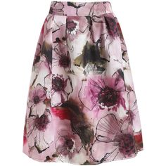 Multi Polyester Knee Length Flared Street Floral Skirts, Length(cm): 61cm Size Available: one-size Style: Street.
