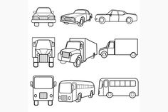 Set icons symbols car, truck, bus Graphics Set of black and white Icons of different target vehicles in different positions symbols car, truck by ARTYuSTUDIO Business Brochure, Business Card Logo, Car Drawing Kids, Car Symbols, Sport Icon, Concept Diagram, Car Drawings, Creative Sketches, Paint Markers