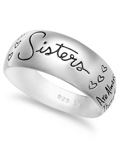 """Unwritten Sterling Silver Ring, """"Sisters"""" Script Ring #AD"""
